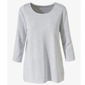 Chico's Gray Striped Scoop-Neck Knit Tunic  L